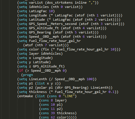 AutoLISP code snippet