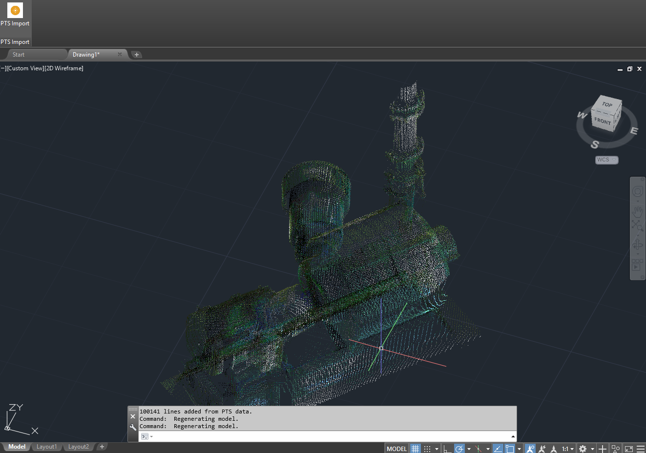 Screenshot of PTS Import for AutoCAD